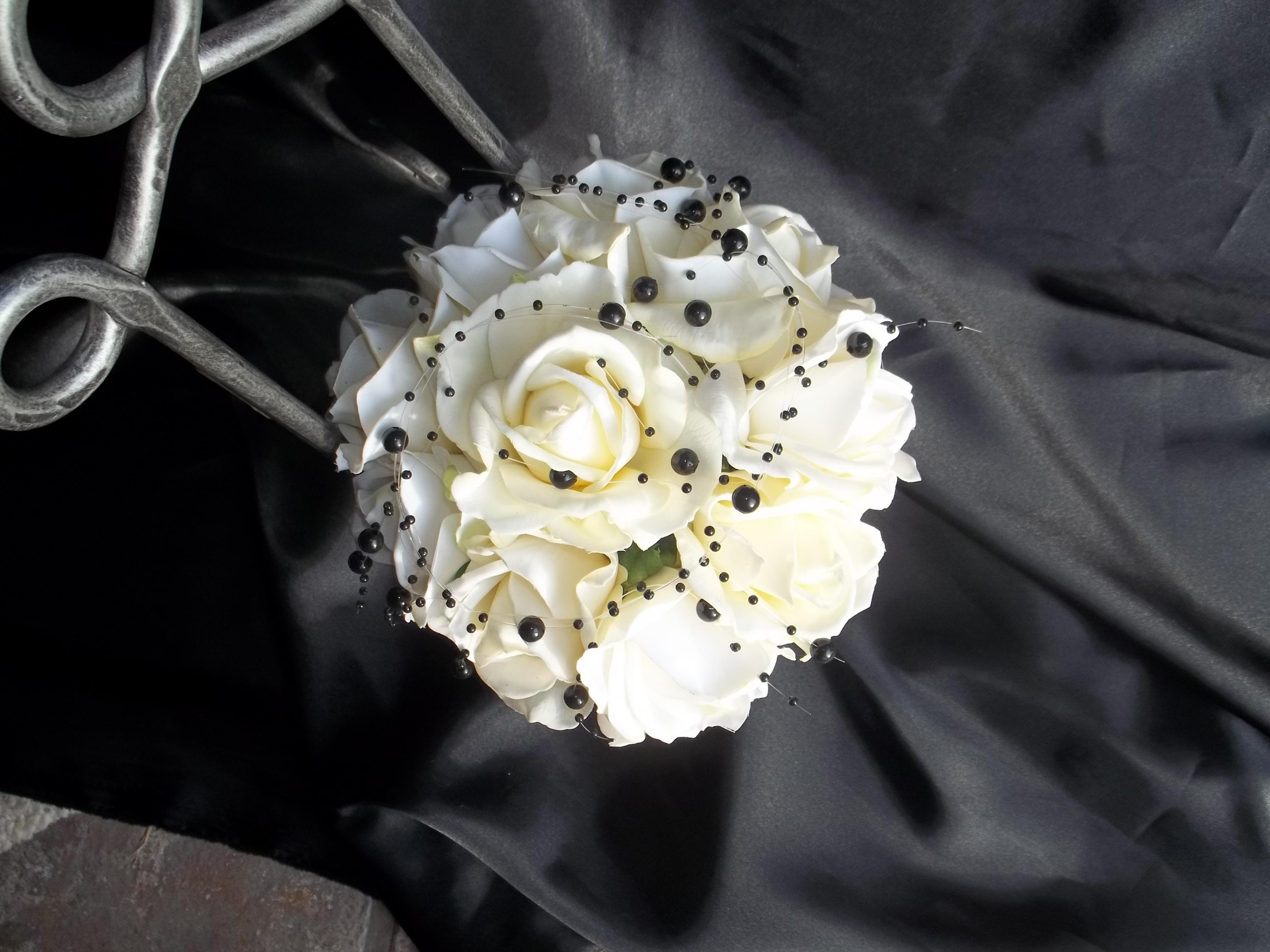 Real Touch Ivory/White Rose Wedding Bouquet Accented With Black ...